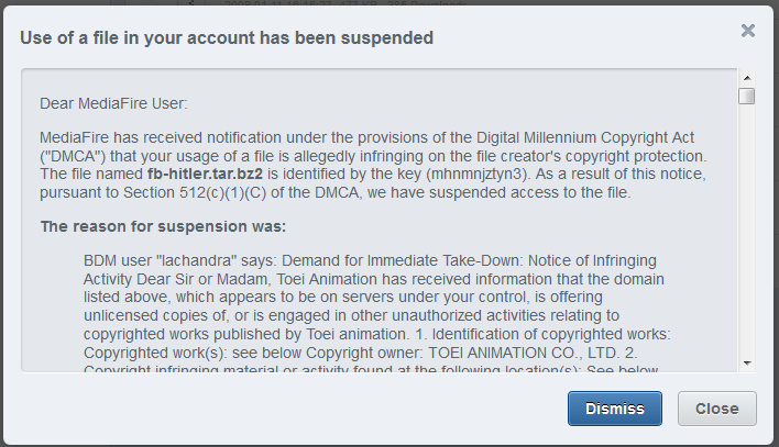 Use of a file in your account has been suspended
